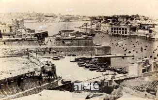 Malta - Kalkara Bay (with Valletta visible in the background across the bay) - WWI era. Malta was not on the front line of World War I (unlike World W...